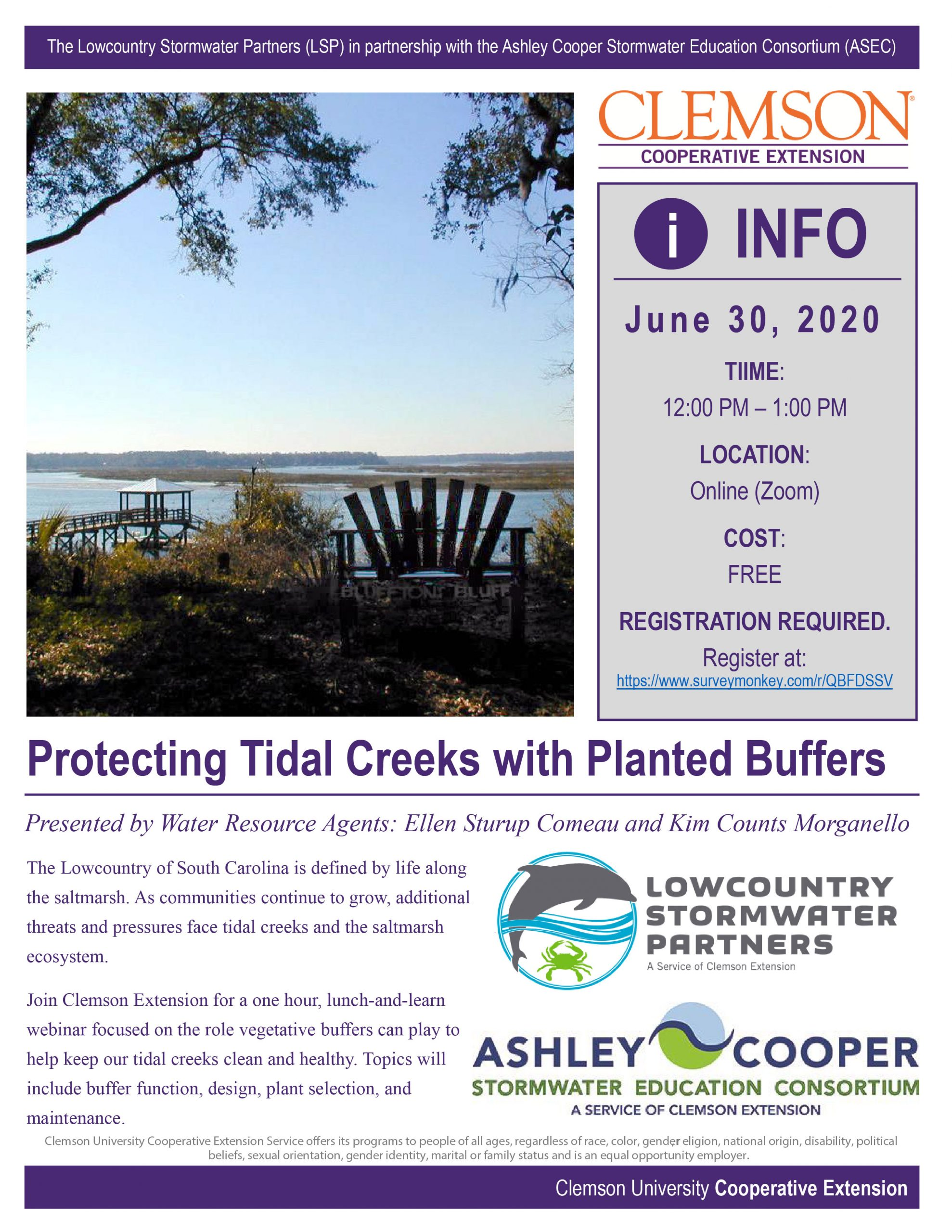 Protecting Tidal Creeks with Planted Buffers Webinar Flyer